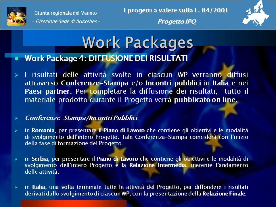Work Packages Work Package 4: DIFFUSIONE DEI RISULTATI I risultati delle attività svolte in ciascun WP verranno diffusi attraverso Conferenze-Stampa e