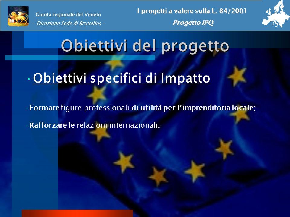 Obiettivi del progetto ·Obiettivi specifici di Impatto ·Formare figure professionali di utilità per limprenditoria locale; ·Rafforzare le relazioni in
