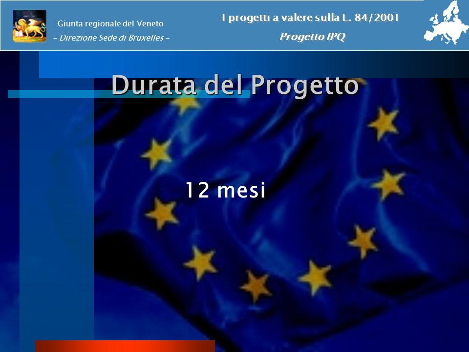 Durata del Progetto 12 mesi Giunta regionale del Veneto - Direzione Sede di Bruxelles - I progetti a valere sulla L. 84/2001 Progetto IPQ I progetti a