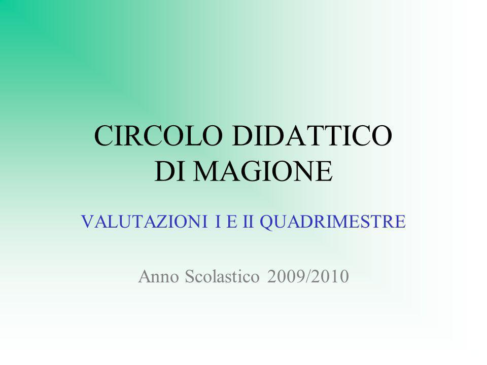 CIRCOLO DIDATTICO DI MAGIONE VALUTAZIONI I E II QUADRIMESTRE Anno Scolastico 2009/2010