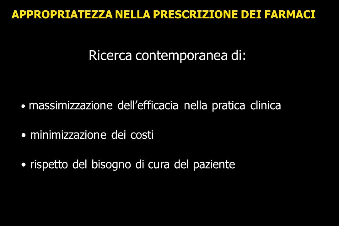APPROPRIATEZZA NELLA PRESCRIZIONE DEI FARMACI Ricerca contemporanea di: massimizzazione dellefficacia nella pratica clinica minimizzazione dei costi r