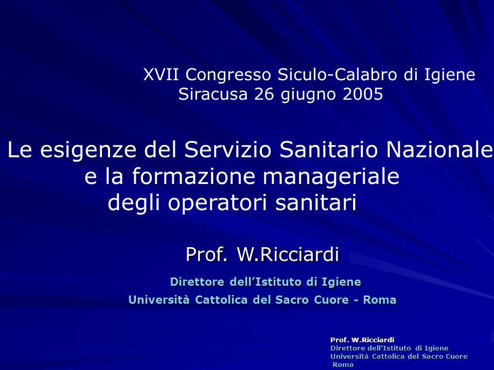 Prof. W.Ricciardi Direttore dellIstituto di Igiene Università Cattolica del Sacro Cuore Roma Roma Prof. W.Ricciardi Direttore dellIstituto di Igiene U