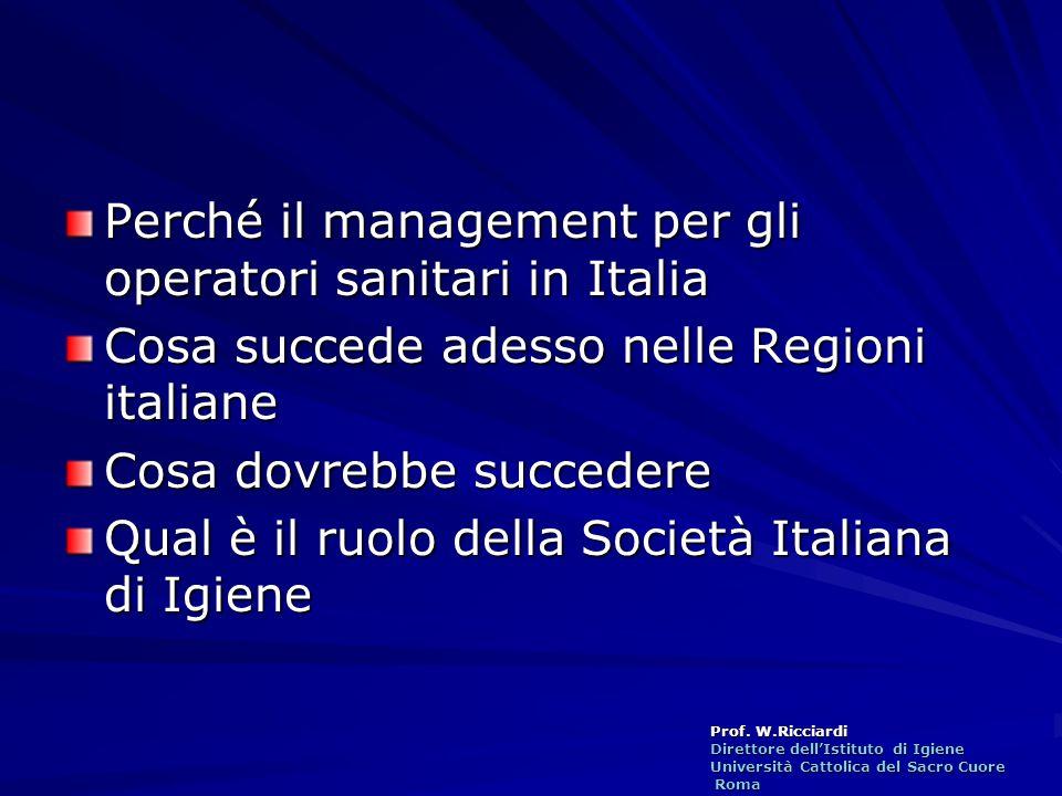 Prof. W.Ricciardi Direttore dellIstituto di Igiene Università Cattolica del Sacro Cuore Roma Roma Perché il management per gli operatori sanitari in I
