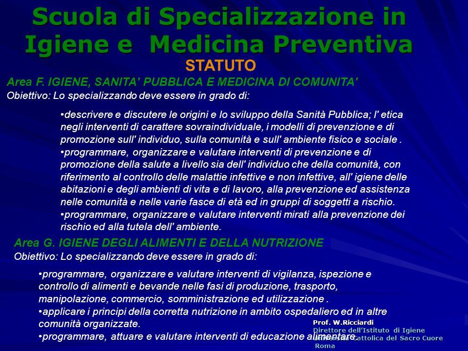 Prof. W.Ricciardi Direttore dellIstituto di Igiene Università Cattolica del Sacro Cuore Roma Roma Scuola di Specializzazione in Igiene e Medicina Prev