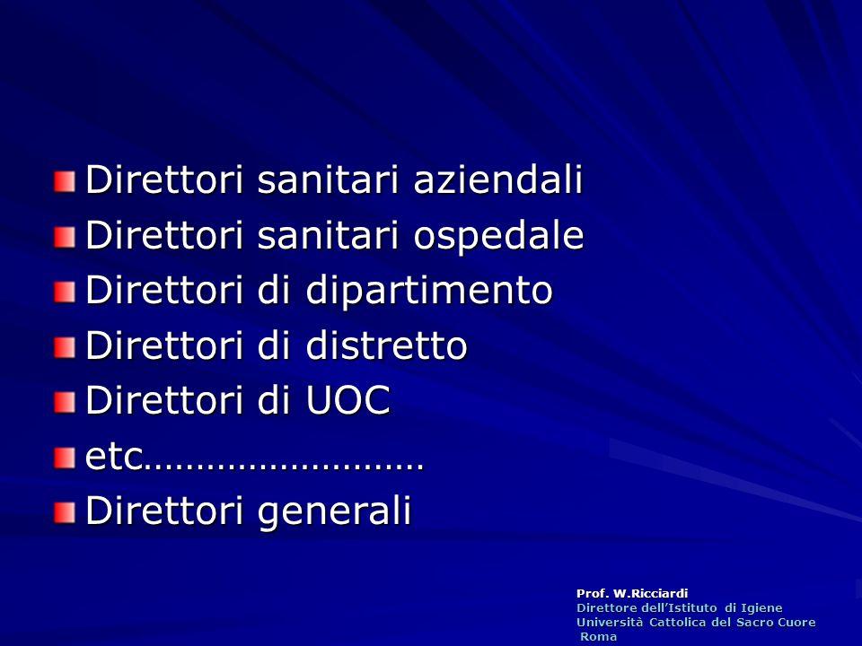 Prof. W.Ricciardi Direttore dellIstituto di Igiene Università Cattolica del Sacro Cuore Roma Roma Direttori sanitari aziendali Direttori sanitari ospe