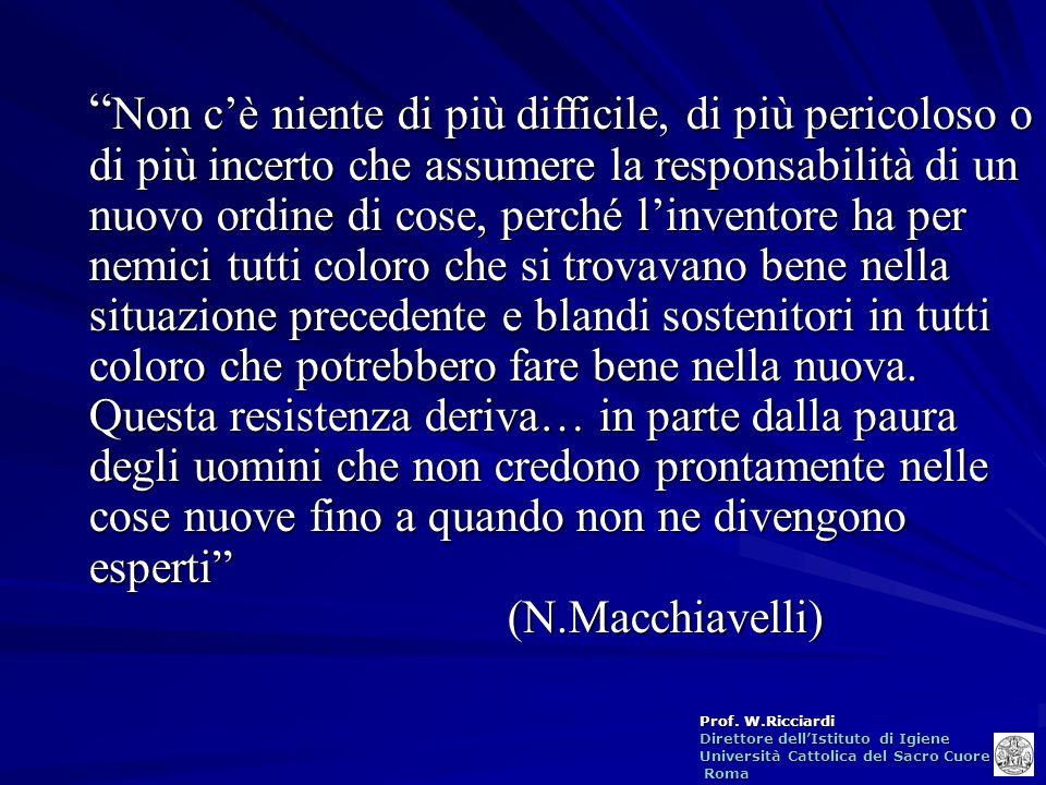 Prof. W.Ricciardi Direttore dellIstituto di Igiene Università Cattolica del Sacro Cuore Roma Roma Non cè niente di più difficile, di più pericoloso o
