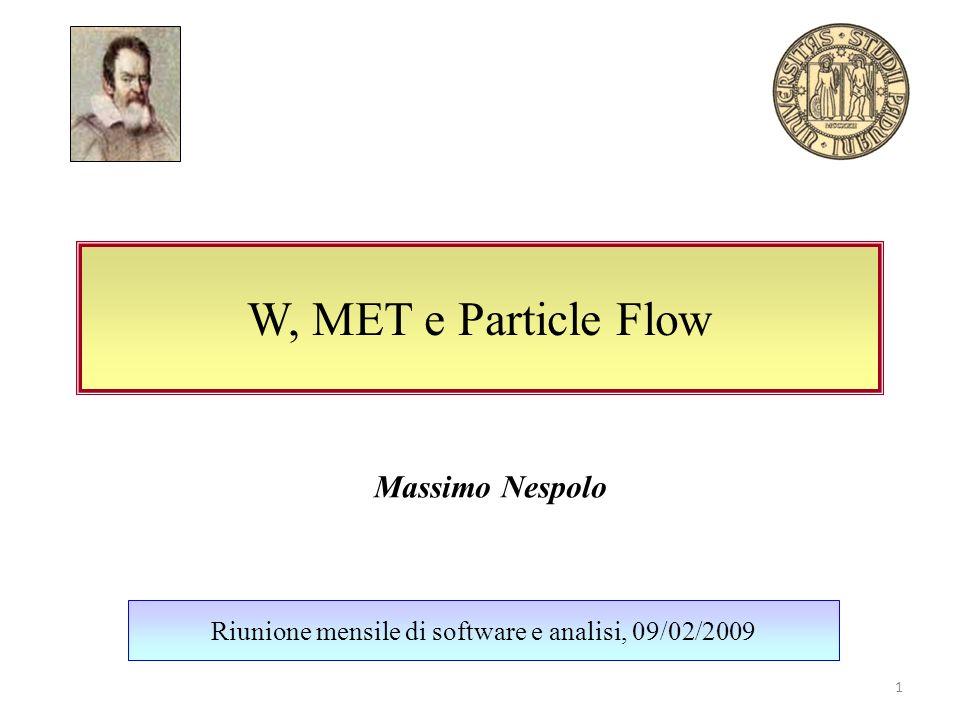 W, MET e Particle Flow Riunione mensile di software e analisi, 09/02/2009 Massimo Nespolo 1