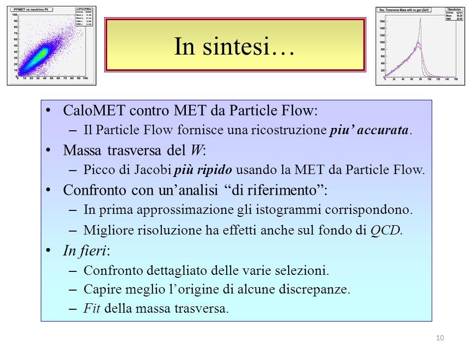 In sintesi… 10 CaloMET contro MET da Particle Flow: – Il Particle Flow fornisce una ricostruzione piu accurata.
