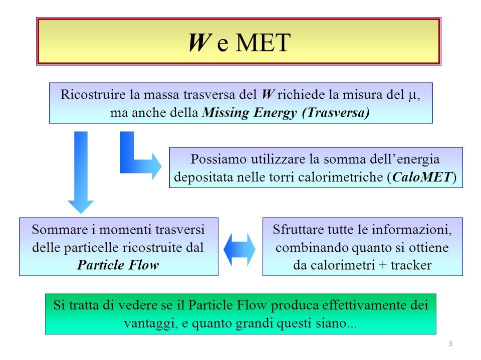 W e MET 3 Ricostruire la massa trasversa del W richiede la misura del, ma anche della Missing Energy (Trasversa) Possiamo utilizzare la somma dellenergia depositata nelle torri calorimetriche (CaloMET) Si tratta di vedere se il Particle Flow produca effettivamente dei vantaggi, e quanto grandi questi siano...