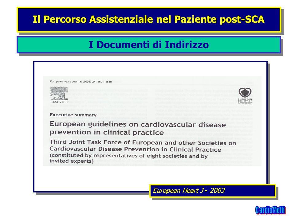 I Documenti di Indirizzo Il Percorso Assistenziale nel Paziente post-SCA European Heart J - 2003