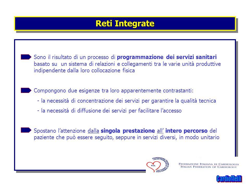 Reti Integrate Sono il risultato di un processo di programmazione dei servizi sanitari basato su un sistema di relazioni e collegamenti tra le varie u