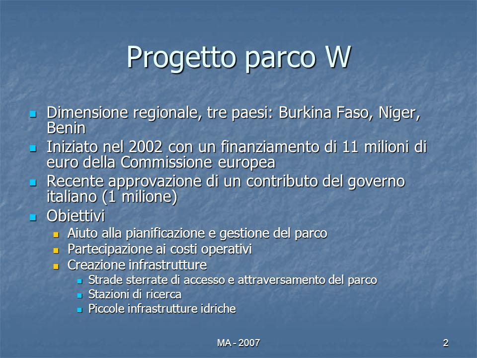 MA - 20072 Progetto parco W Dimensione regionale, tre paesi: Burkina Faso, Niger, Benin Dimensione regionale, tre paesi: Burkina Faso, Niger, Benin In