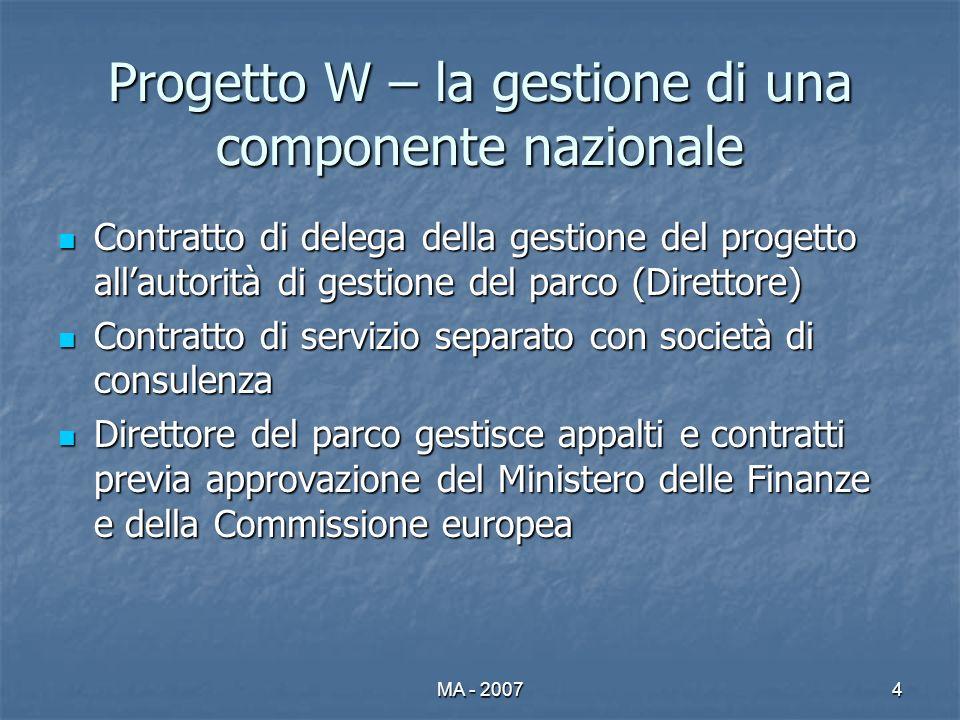 MA - 20074 Progetto W – la gestione di una componente nazionale Contratto di delega della gestione del progetto allautorità di gestione del parco (Dir