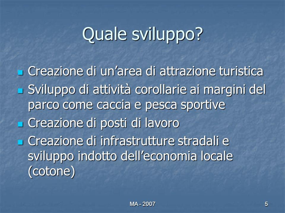 MA - 20075 Quale sviluppo? Creazione di unarea di attrazione turistica Creazione di unarea di attrazione turistica Sviluppo di attività corollarie ai