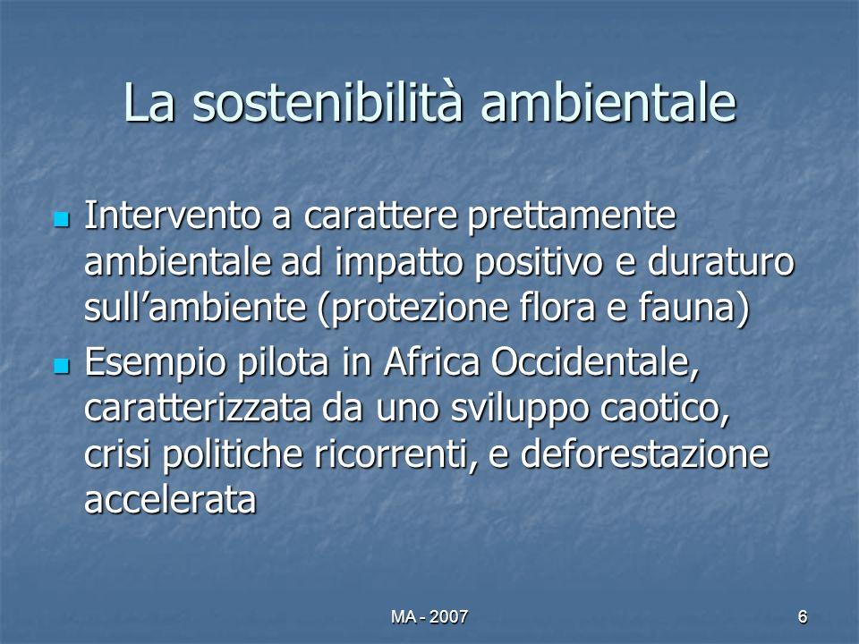 MA - 20076 La sostenibilità ambientale Intervento a carattere prettamente ambientale ad impatto positivo e duraturo sullambiente (protezione flora e f