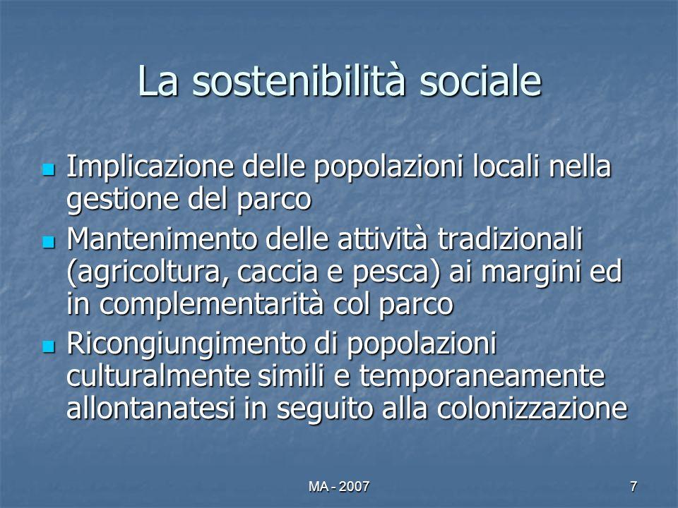 MA - 20077 La sostenibilità sociale Implicazione delle popolazioni locali nella gestione del parco Implicazione delle popolazioni locali nella gestion