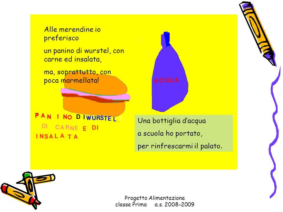 Progetto Alimentazione classe Prima a.s. 2008-2009 Alla maestra Rossella regalo un panino alla mortadella!