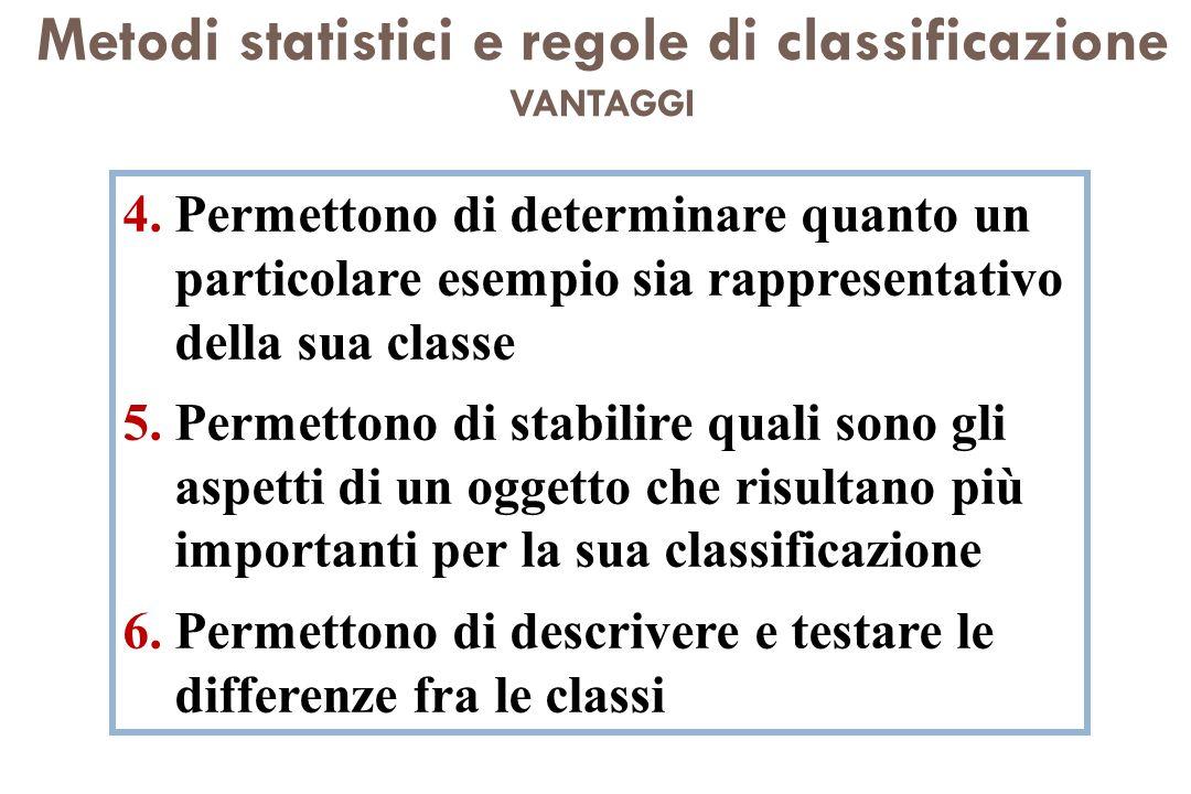 Metodi statistici e regole di classificazione VANTAGGI 4.Permettono di determinare quanto un particolare esempio sia rappresentativo della sua classe