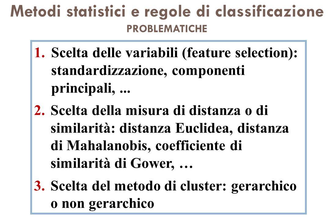 Metodi statistici e regole di classificazione PROBLEMATICHE 1.Scelta delle variabili (feature selection): standardizzazione, componenti principali,...