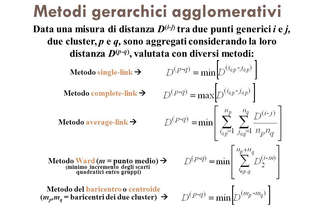 Metodi gerarchici agglomerativi Data una misura di distanza D (i-j) tra due punti generici i e j, due cluster, p e q, sono aggregati considerando la l