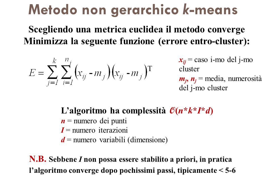Metodo non gerarchico k-means Scegliendo una metrica euclidea il metodo converge Minimizza la seguente funzione (errore entro-cluster): x ij = caso i-