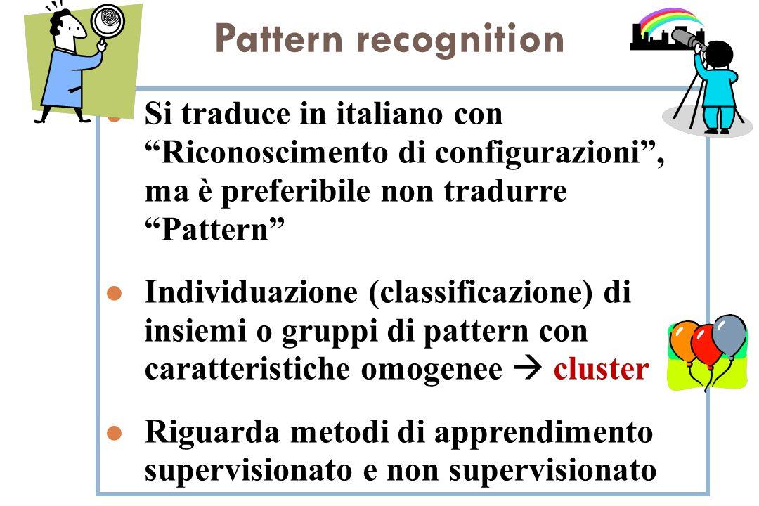 Pattern recognition l Si traduce in italiano con Riconoscimento di configurazioni, ma è preferibile non tradurre Pattern l Individuazione (classificaz