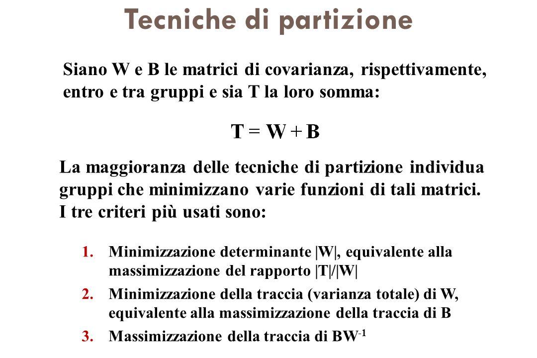 Tecniche di partizione Siano W e B le matrici di covarianza, rispettivamente, entro e tra gruppi e sia T la loro somma: La maggioranza delle tecniche