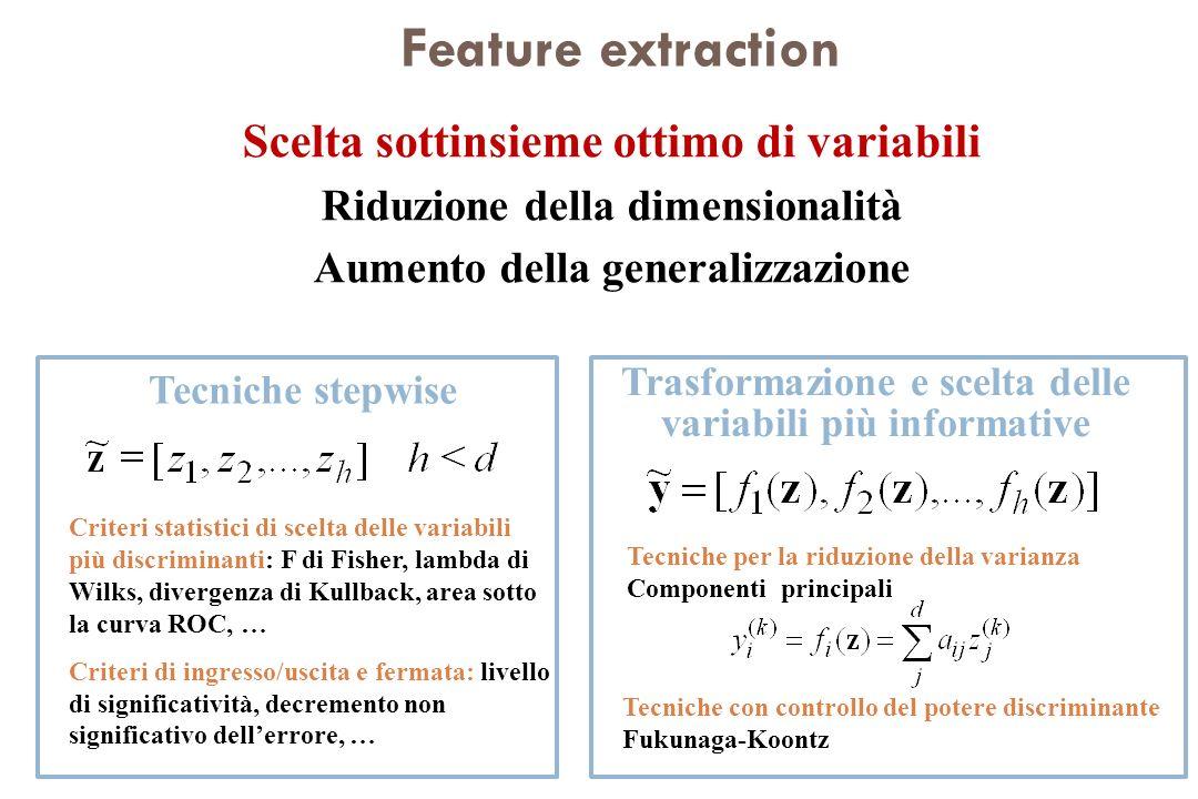 Feature extraction Scelta sottinsieme ottimo di variabili Riduzione della dimensionalità Aumento della generalizzazione Trasformazione e scelta delle