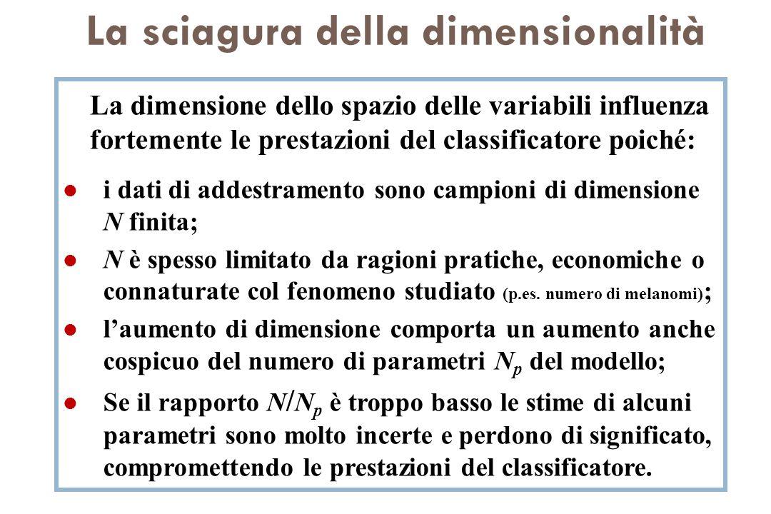 La sciagura della dimensionalità La dimensione dello spazio delle variabili influenza fortemente le prestazioni del classificatore poiché: l i dati di
