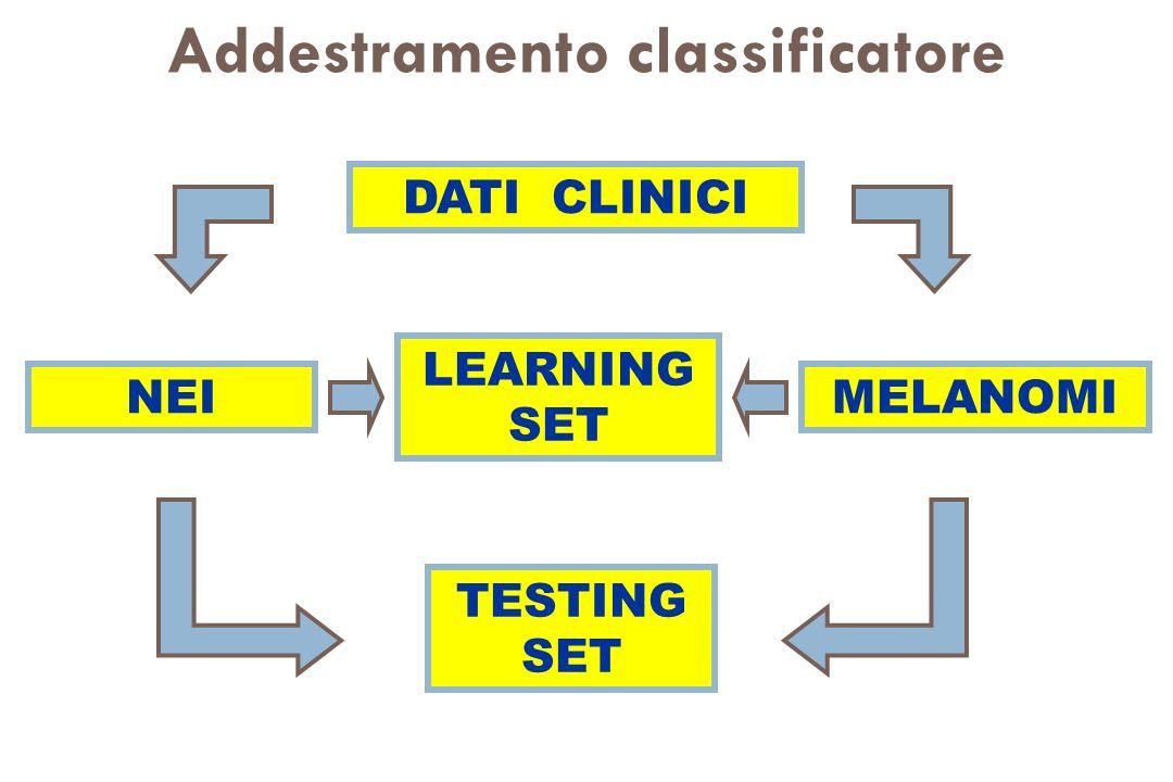 Addestramento classificatore DATI CLINICI MELANOMI NEI LEARNING SET TESTING SET