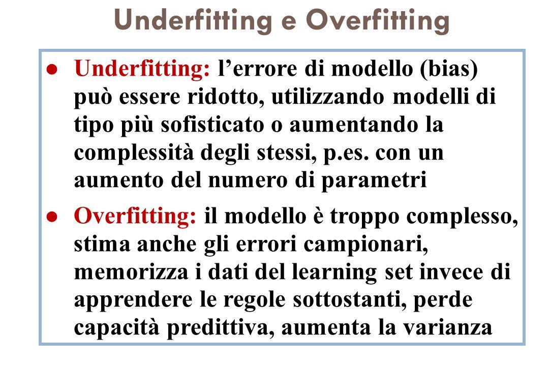 Underfitting e Overfitting l Underfitting: lerrore di modello (bias) può essere ridotto, utilizzando modelli di tipo più sofisticato o aumentando la c