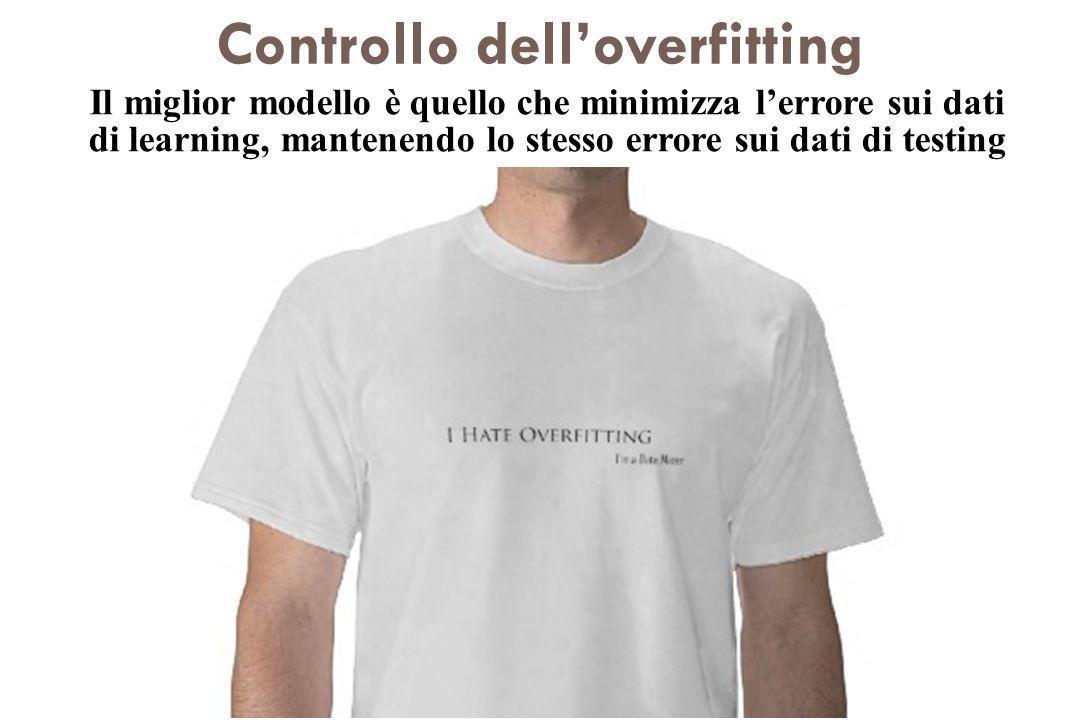 Controllo delloverfitting Tecniche di cross-validazione Una parte dei dati viene efficientemente usata per controllare il potere di generalizzazione d