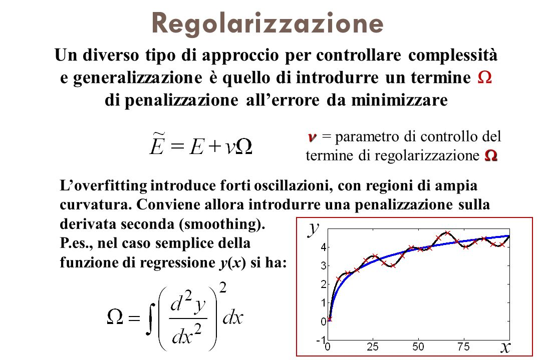 Regolarizzazione Un diverso tipo di approccio per controllare complessità e generalizzazione è quello di introdurre un termine di penalizzazione aller