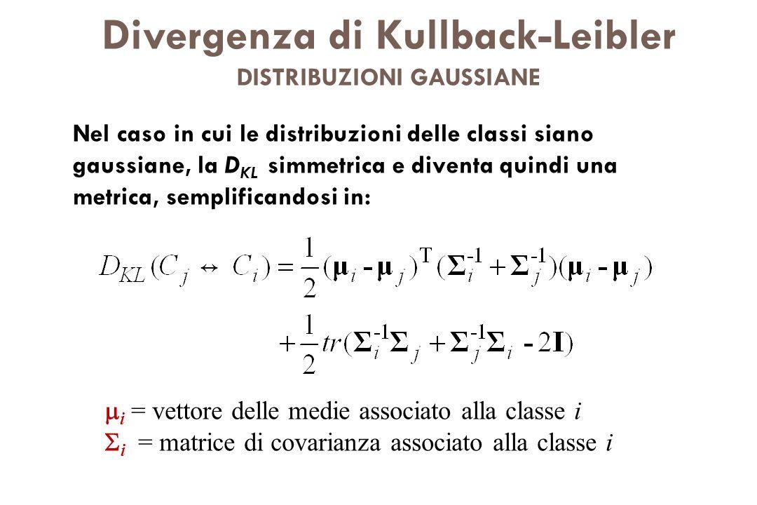 Divergenza di Kullback-Leibler DISTRIBUZIONI GAUSSIANE Nel caso in cui le distribuzioni delle classi siano gaussiane, la D KL simmetrica e diventa qui