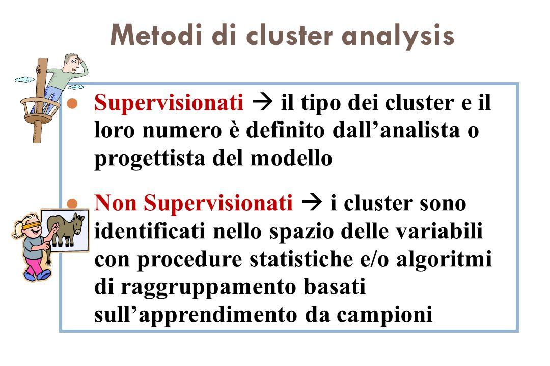Metodi di cluster analysis l Supervisionati il tipo dei cluster e il loro numero è definito dallanalista o progettista del modello l Non Supervisionat