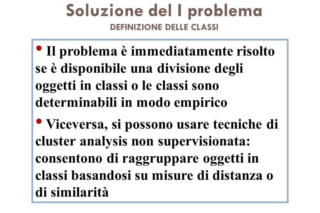 Soluzione del I problema DEFINIZIONE DELLE CLASSI Il problema è immediatamente risolto se è disponibile una divisione degli oggetti in classi o le cla