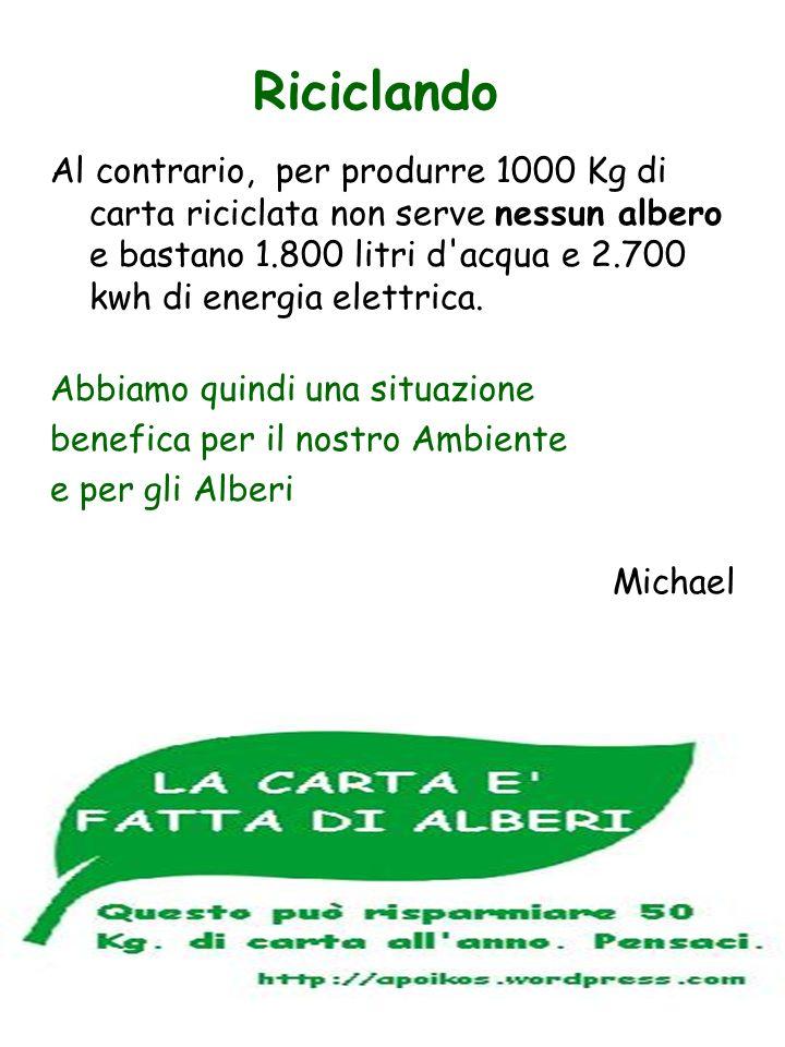 Al contrario, per produrre 1000 Kg di carta riciclata non serve nessun albero e bastano 1.800 litri d'acqua e 2.700 kwh di energia elettrica. Abbiamo