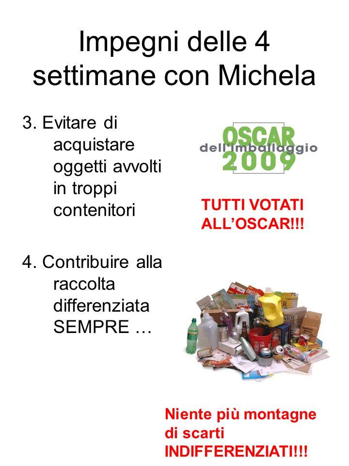 Impegni delle 4 settimane con Michela 3. Evitare di acquistare oggetti avvolti in troppi contenitori 4. Contribuire alla raccolta differenziata SEMPRE