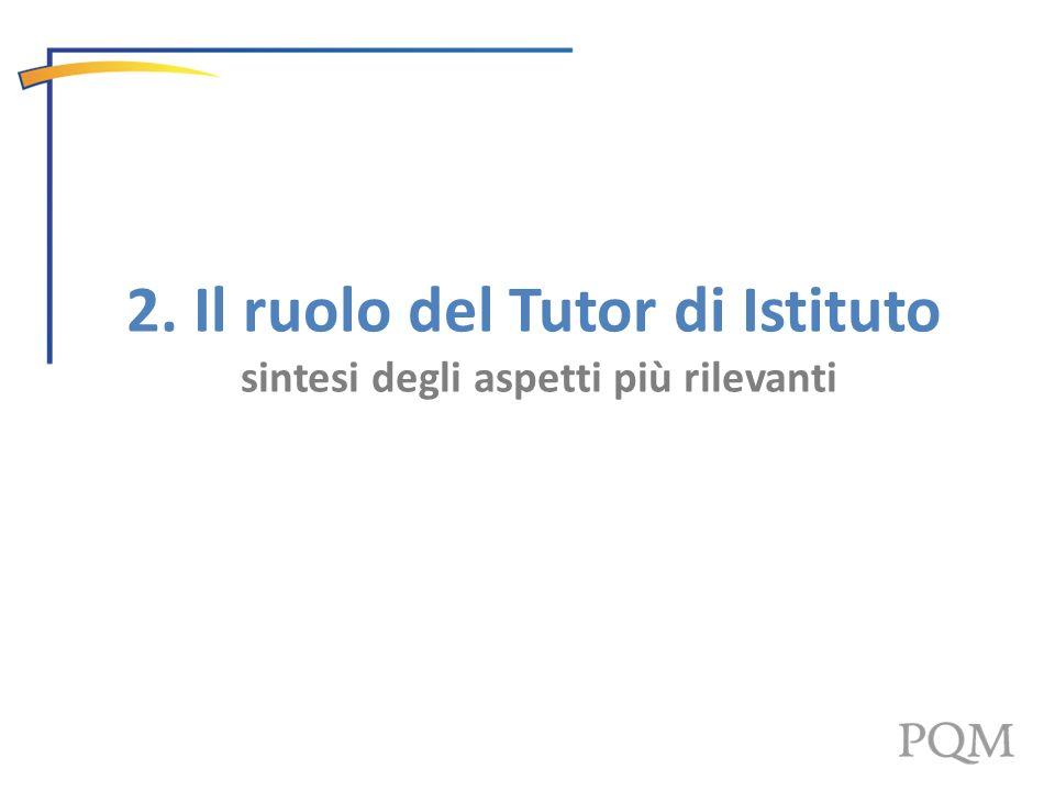 2. Il ruolo del Tutor di Istituto sintesi degli aspetti più rilevanti