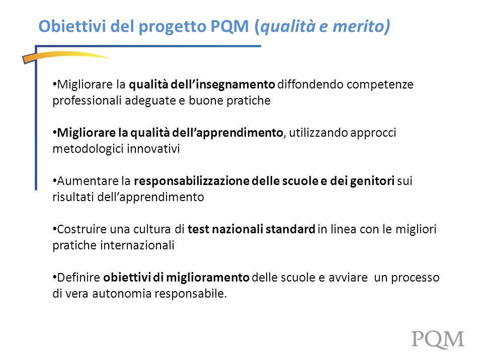 Obiettivi del progetto PQM (qualità e merito) Migliorare la qualità dellinsegnamento diffondendo competenze professionali adeguate e buone pratiche Mi