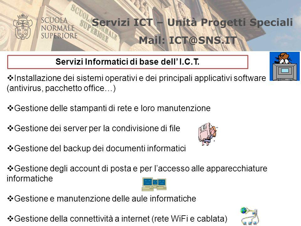 Installazione dei sistemi operativi e dei principali applicativi software (antivirus, pacchetto office…) Gestione delle stampanti di rete e loro manut