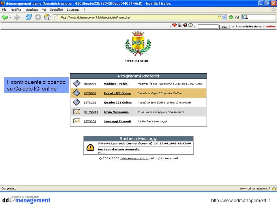 http://www.ddmanagement.it Il contribuente cliccando su Calcolo ICI online