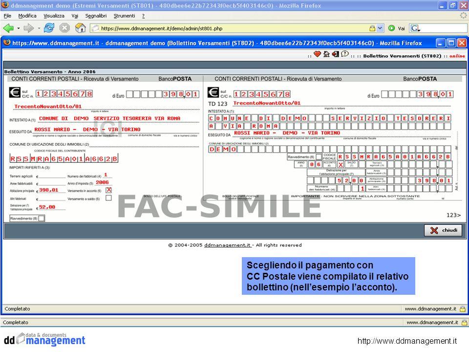 Scegliendo il pagamento con CC Postale viene compilato il relativo bollettino (nellesempio lacconto).