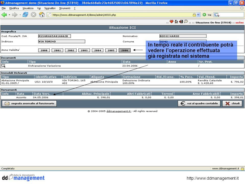 http://www.ddmanagement.it In tempo reale il contribuente potrà vedere l'operazione effettuata già registrata nel sistema