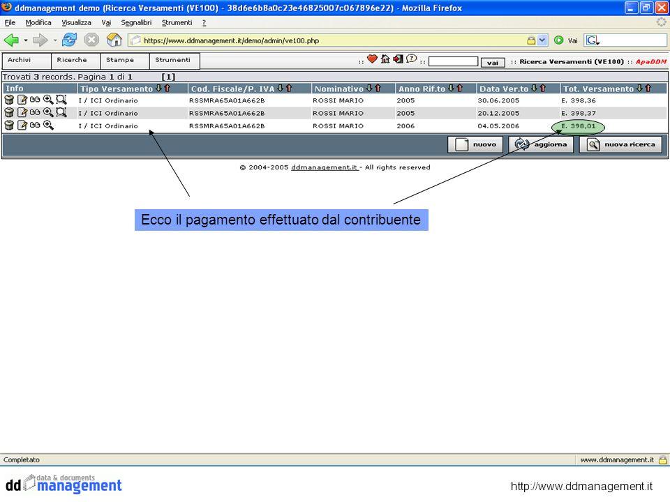 http://www.ddmanagement.it Ecco il pagamento effettuato dal contribuente