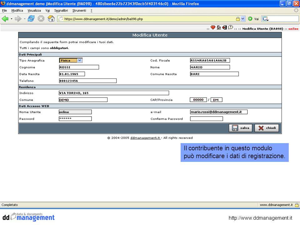 http://www.ddmanagement.it Cliccando su Quadro ICI Online si mostra un aspetto unico del DDMFramework.