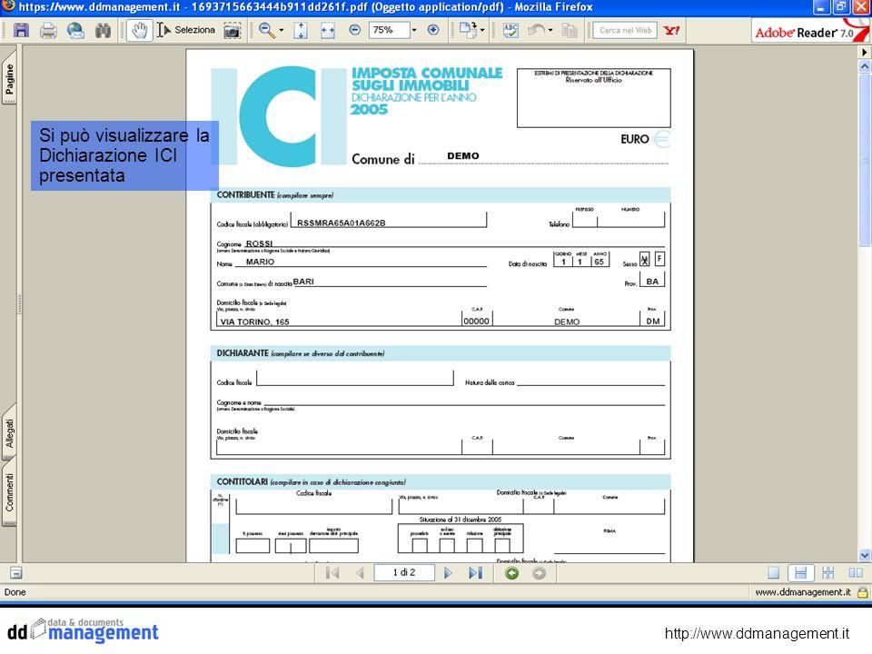 http://www.ddmanagement.it Si può visualizzare la Dichiarazione ICI presentata