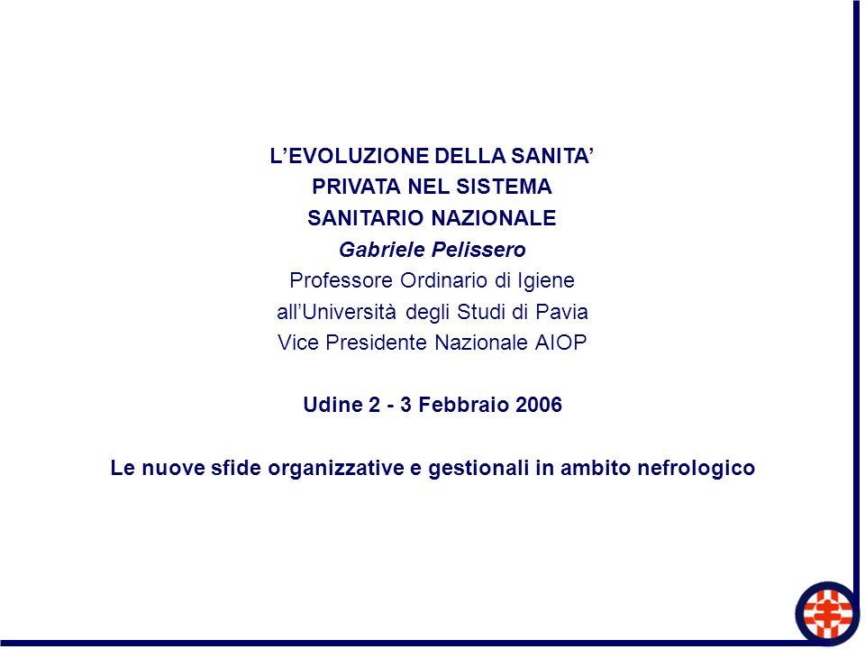 LEVOLUZIONE DELLA SANITA PRIVATA NEL SISTEMA SANITARIO NAZIONALE Gabriele Pelissero Professore Ordinario di Igiene allUniversità degli Studi di Pavia