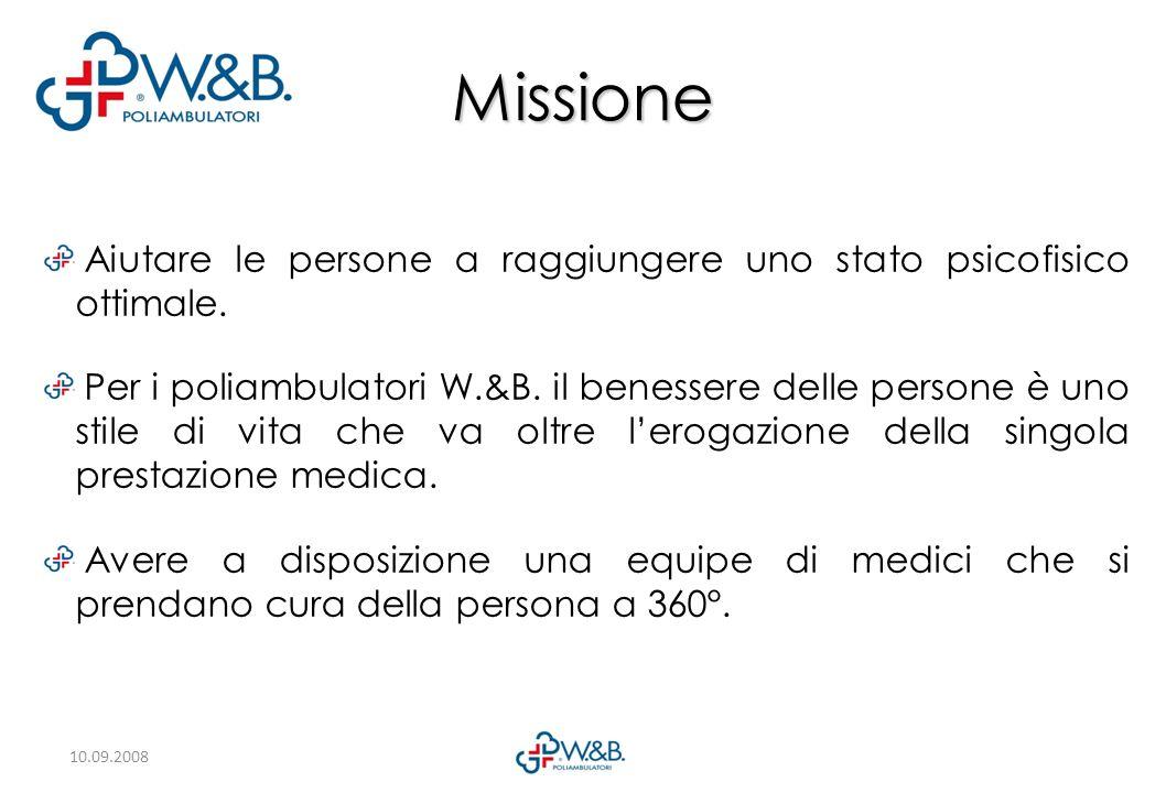 10.09.2008 Missione Aiutare le persone a raggiungere uno stato psicofisico ottimale. Per i poliambulatori W.&B. il benessere delle persone è uno stile