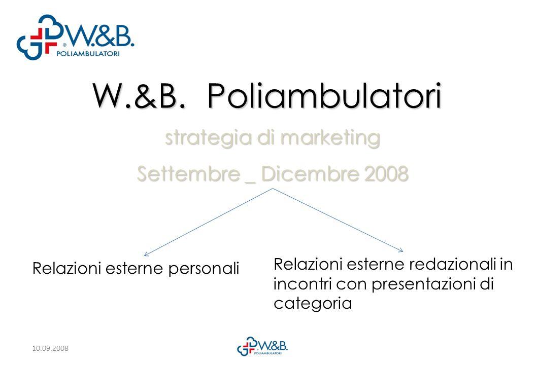 10.09.2008 W.&B. Poliambulatori strategia di marketing Settembre _ Dicembre 2008 Relazioni esterne personali Relazioni esterne redazionali in incontri